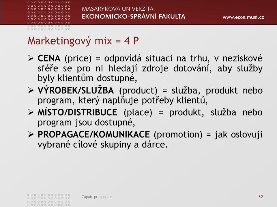 www.econ.muni.cz Zápatí prezentace 32 Marketingový mix = 4 P  CENA (price) = odpovídá situaci na trhu, v neziskové sféře se pro ni hledají zdroje dot