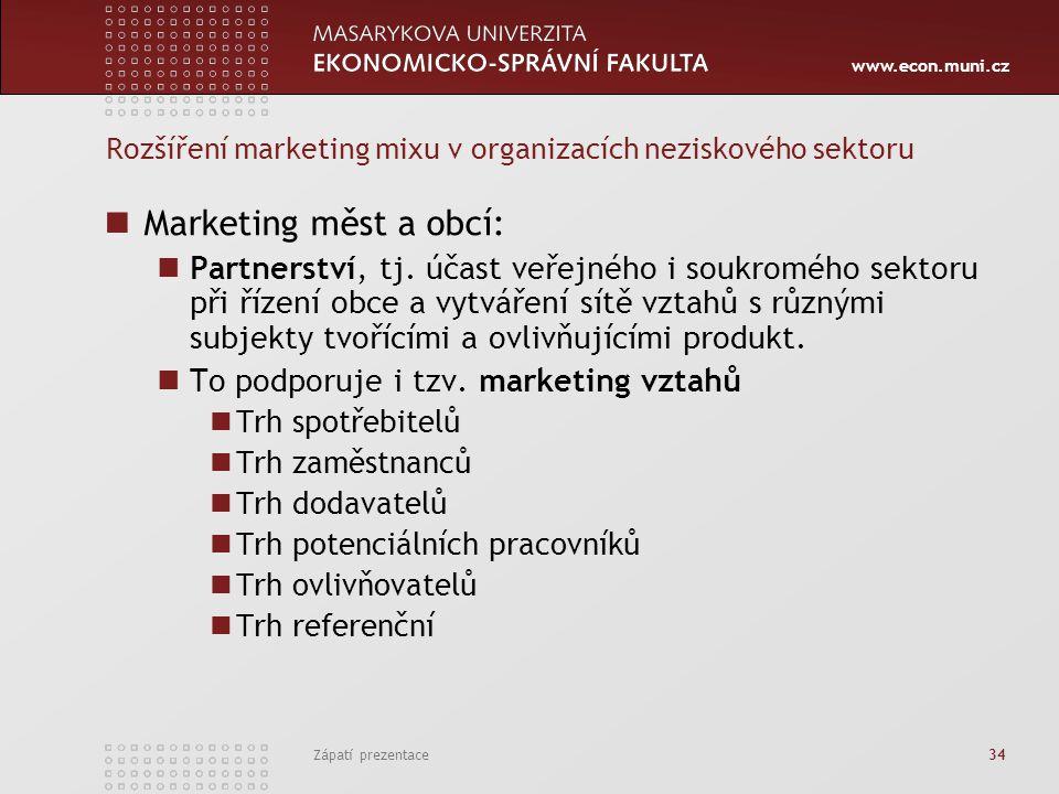www.econ.muni.cz Zápatí prezentace 34 Rozšíření marketing mixu v organizacích neziskového sektoru Marketing měst a obcí: Partnerství, tj. účast veřejn