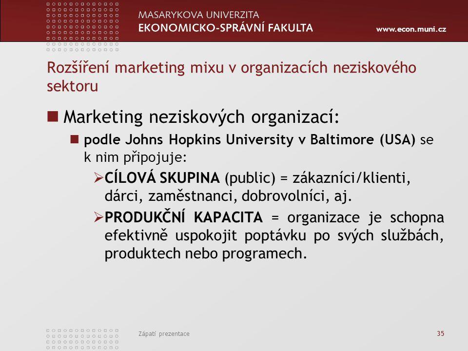 www.econ.muni.cz Zápatí prezentace 35 Rozšíření marketing mixu v organizacích neziskového sektoru Marketing neziskových organizací: podle Johns Hopkin