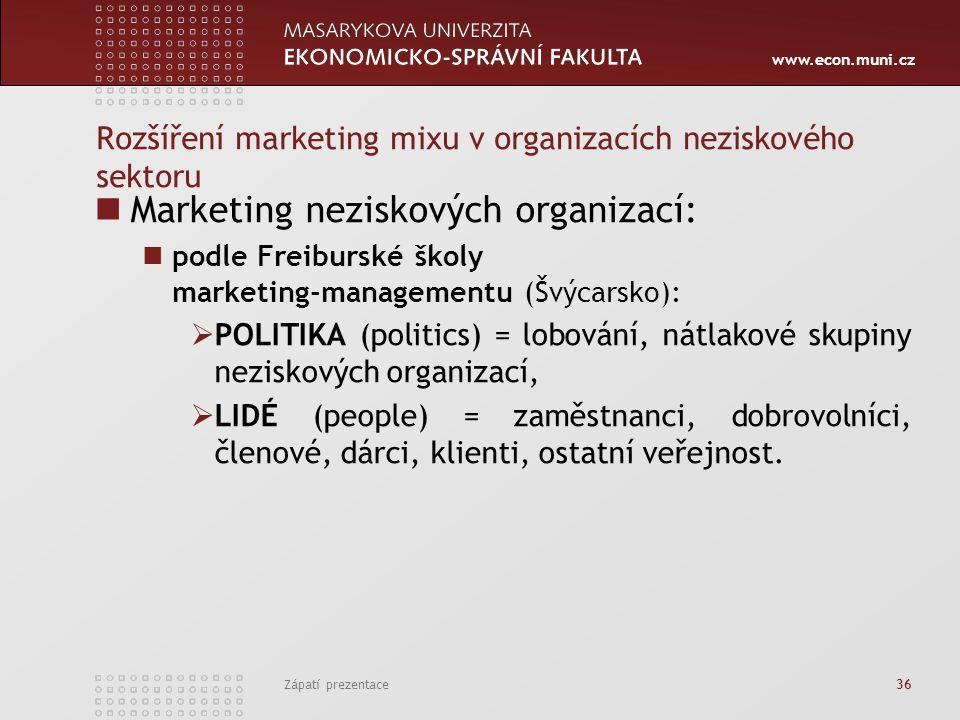 www.econ.muni.cz Zápatí prezentace 36 Rozšíření marketing mixu v organizacích neziskového sektoru Marketing neziskových organizací: podle Freiburské š
