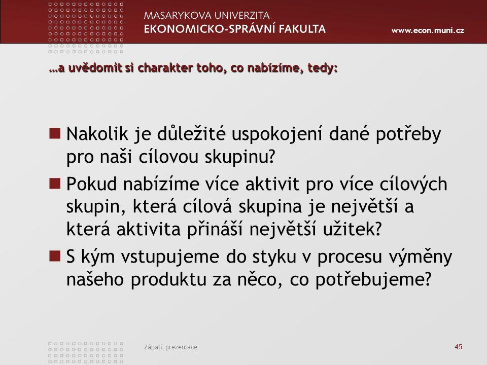 www.econ.muni.cz Zápatí prezentace 45 …a uvědomit si charakter toho, co nabízíme, tedy: Nakolik je důležité uspokojení dané potřeby pro naši cílovou s