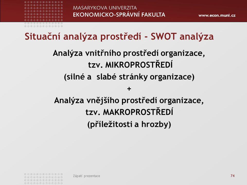 www.econ.muni.cz Zápatí prezentace 74 Situační analýza prostředí - SWOT analýza Analýza vnitřního prostředí organizace, tzv. MIKROPROSTŘEDÍ (silné a s