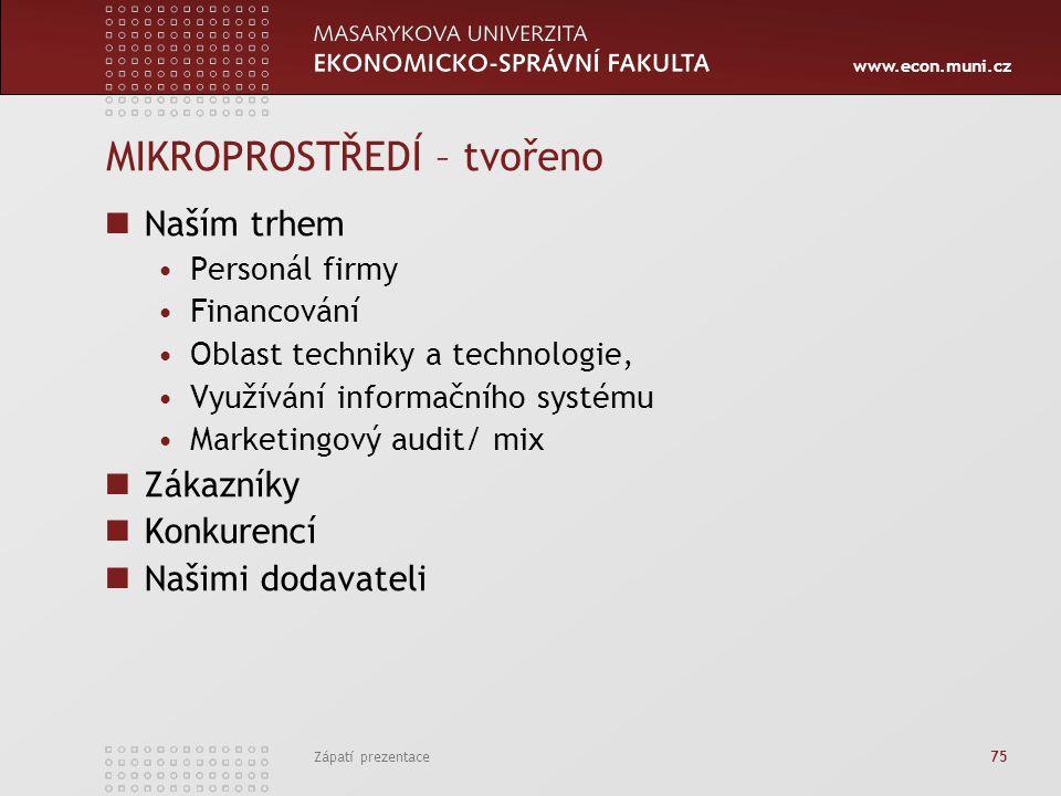 www.econ.muni.cz Zápatí prezentace 75 MIKROPROSTŘEDÍ – tvořeno Naším trhem Personál firmy Financování Oblast techniky a technologie, Využívání informa