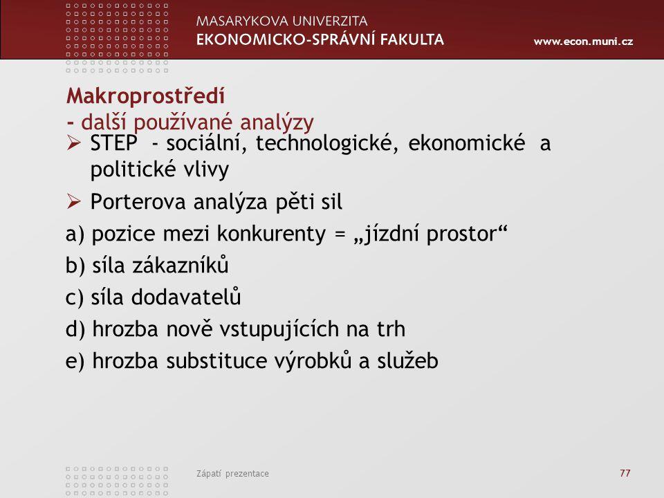 www.econ.muni.cz Zápatí prezentace 77 Makroprostředí - další používané analýzy  STEP - sociální, technologické, ekonomické a politické vlivy  Porter