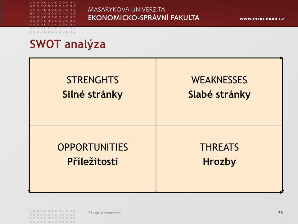 www.econ.muni.cz Zápatí prezentace 78 SWOT analýza STRENGHTS Silné stránky WEAKNESSES Slabé stránky OPPORTUNITIES Příležitosti THREATS Hrozby