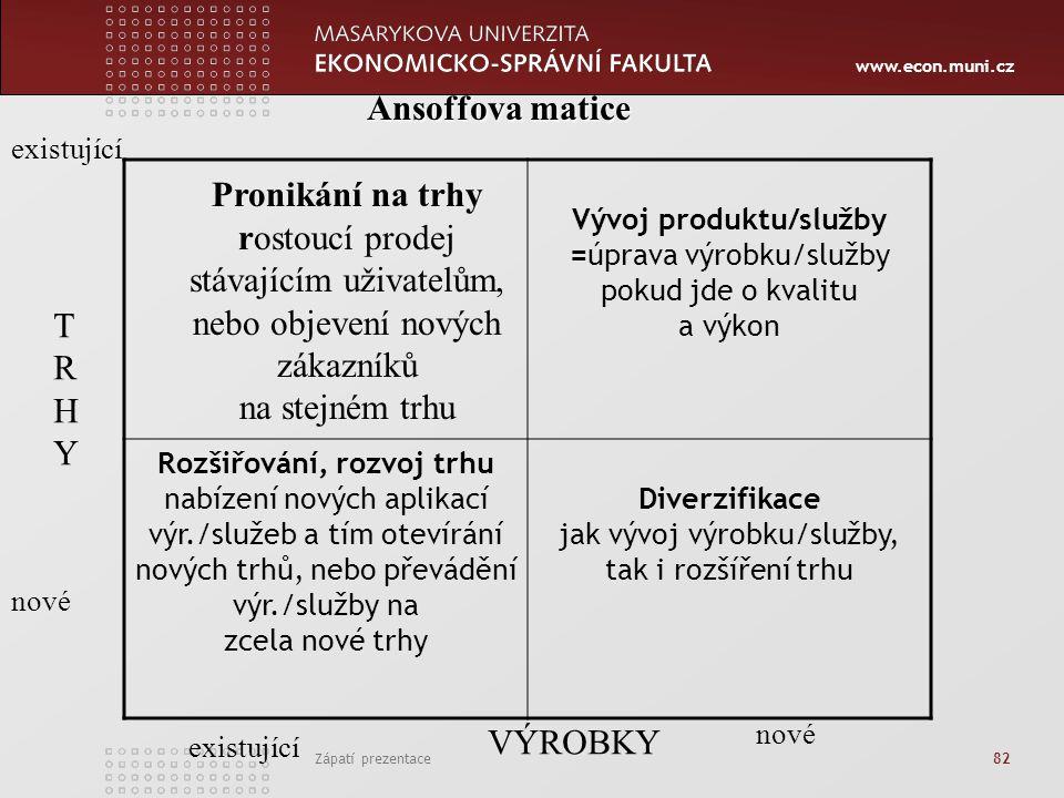 www.econ.muni.cz Zápatí prezentace 82. Vývoj produktu/služby =úprava výrobku/služby pokud jde o kvalitu a výkon Rozšiřování, rozvoj trhu nabízení nový