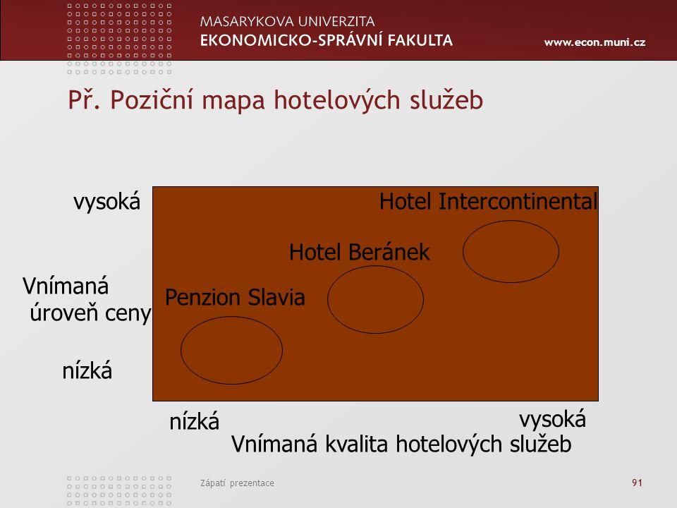 www.econ.muni.cz Zápatí prezentace 91 Př. Poziční mapa hotelových služeb Vnímaná úroveň ceny vysoká nízká vysoká Vnímaná kvalita hotelových služeb Pen