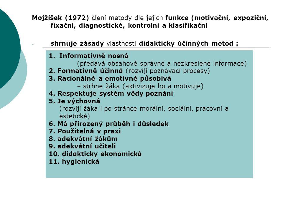 Mojžíšek (1972) člení metody dle jejich funkce (motivační, expoziční, fixační, diagnostické, kontrolní a klasifikační - shrnuje zásady vlastnosti dida
