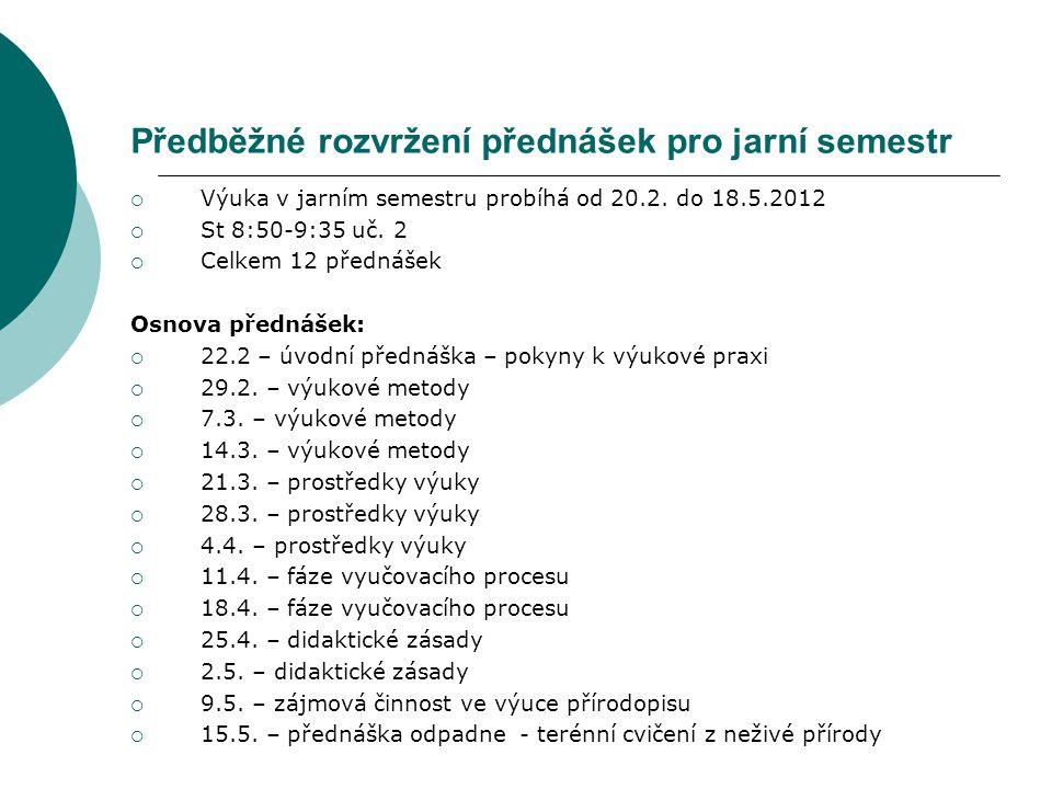 Předběžné rozvržení přednášek pro jarní semestr  Výuka v jarním semestru probíhá od 20.2. do 18.5.2012  St 8:50-9:35 uč. 2  Celkem 12 přednášek Osn