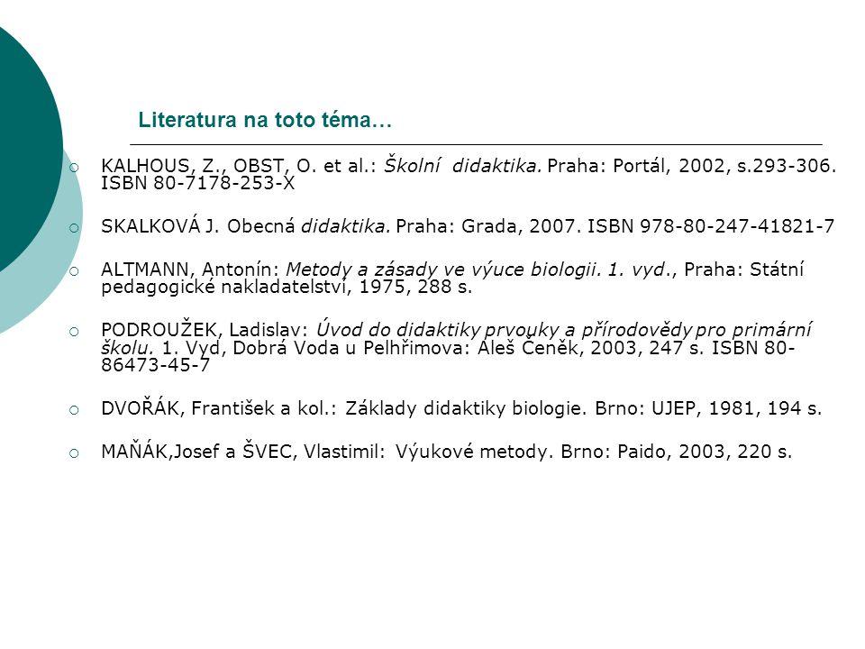 Literatura na toto téma…  KALHOUS, Z., OBST, O. et al.: Školní didaktika. Praha: Portál, 2002, s.293-306. ISBN 80-7178-253-X  SKALKOVÁ J. Obecná did