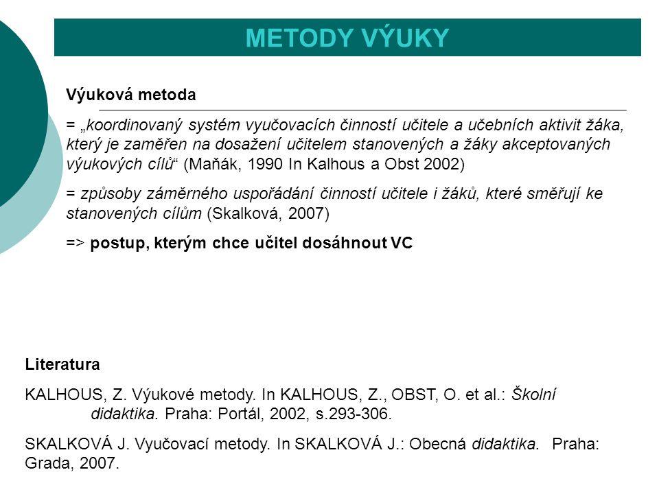 METODY VÝUKY Literatura KALHOUS, Z. Výukové metody. In KALHOUS, Z., OBST, O. et al.: Školní didaktika. Praha: Portál, 2002, s.293-306. SKALKOVÁ J. Vyu