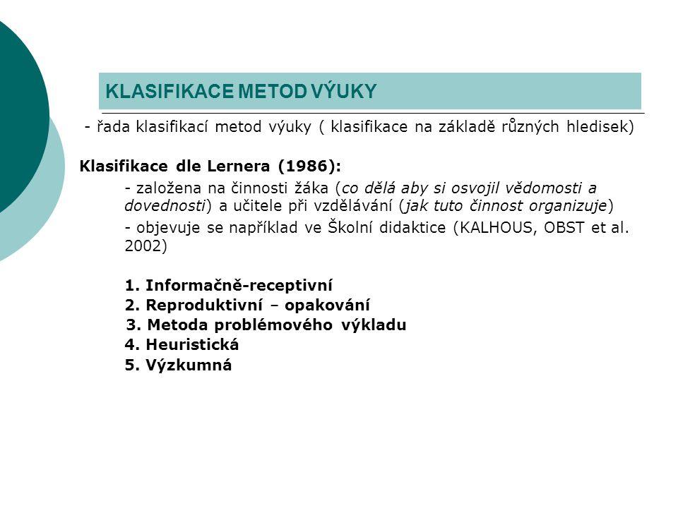 - řada klasifikací metod výuky ( klasifikace na základě různých hledisek) Klasifikace dle Lernera (1986): - založena na činnosti žáka (co dělá aby si