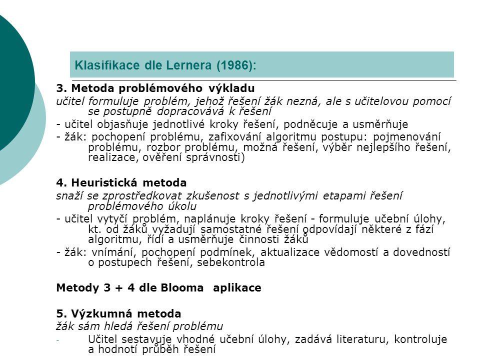 Klasifikace podle Maňáka (1990) - člení metody dle aspektů (podrobněji In Kalhous a Obst, 2002) A) Metody z hlediska pramene poznání a typu poznatků – aspekt didaktický B) Metody z hlediska aktivity a samostatnosti žáků – aspekt psychologický C) Struktura metod z hlediska myšlenkových operací – aspekt logický D) Varianty metod z hlediska fází výuky - procesuální E) Varianty metod z hlediska výukových forem a prostředků – aspekt organizační KLASIFIKACE METOD VÝUKY II.