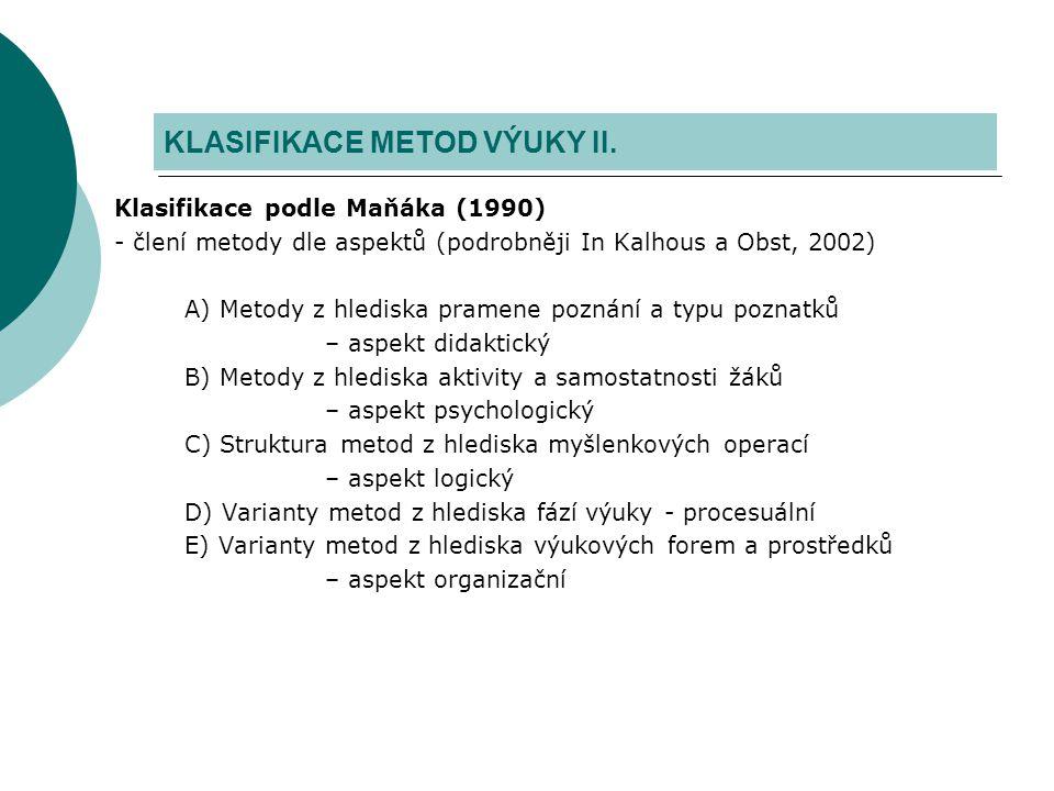 Klasifikace podle Maňáka (1990) - člení metody dle aspektů (podrobněji In Kalhous a Obst, 2002) A) Metody z hlediska pramene poznání a typu poznatků –