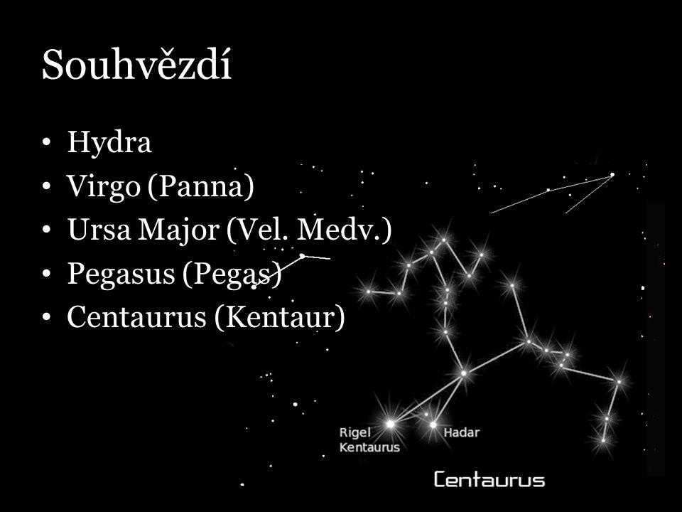 Souhvězdí Hydra Virgo (Panna) Ursa Major (Vel. Medv.) Pegasus (Pegas) Centaurus (Kentaur)