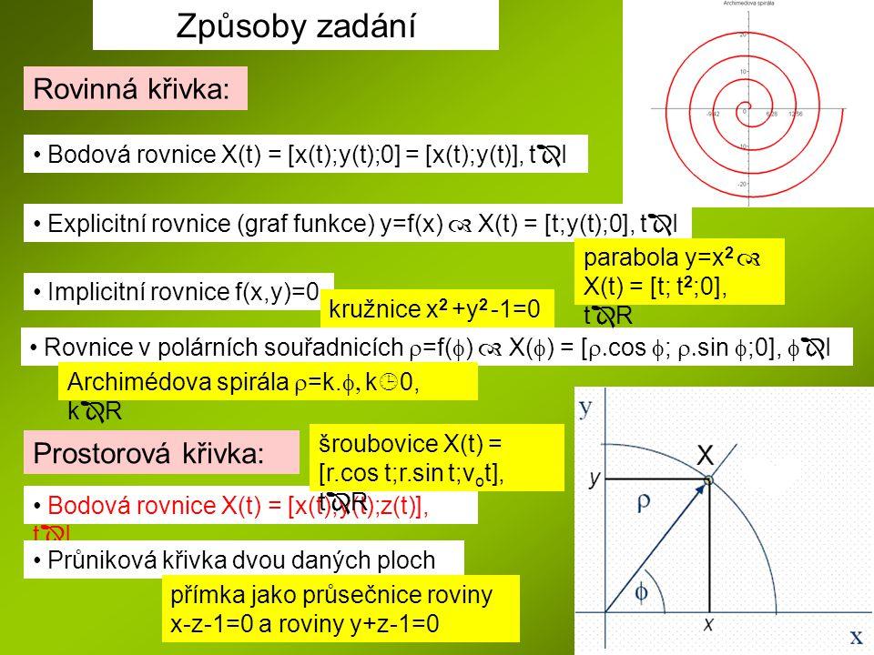 Způsoby zadání Bodová rovnice X(t) = [x(t);y(t);0] = [x(t);y(t)], t  I Rovinná křivka: Explicitní rovnice (graf funkce) y=f(x)  X(t) = [t;y(t);0], t  I Implicitní rovnice f(x,y)=0 Rovnice v polárních souřadnicích  =f(  )  X(  ) = [  cos  ;  sin  ;0],   I Prostorová křivka: Bodová rovnice X(t) = [x(t);y(t);z(t)], t  I Průniková křivka dvou daných ploch kružnice x 2 +y 2 -1=0 parabola y=x 2  X(t) = [t; t 2 ;0], t  R šroubovice X(t) = [r.cos t;r.sin t;v o t], t  R Archimédova spirála  =k.