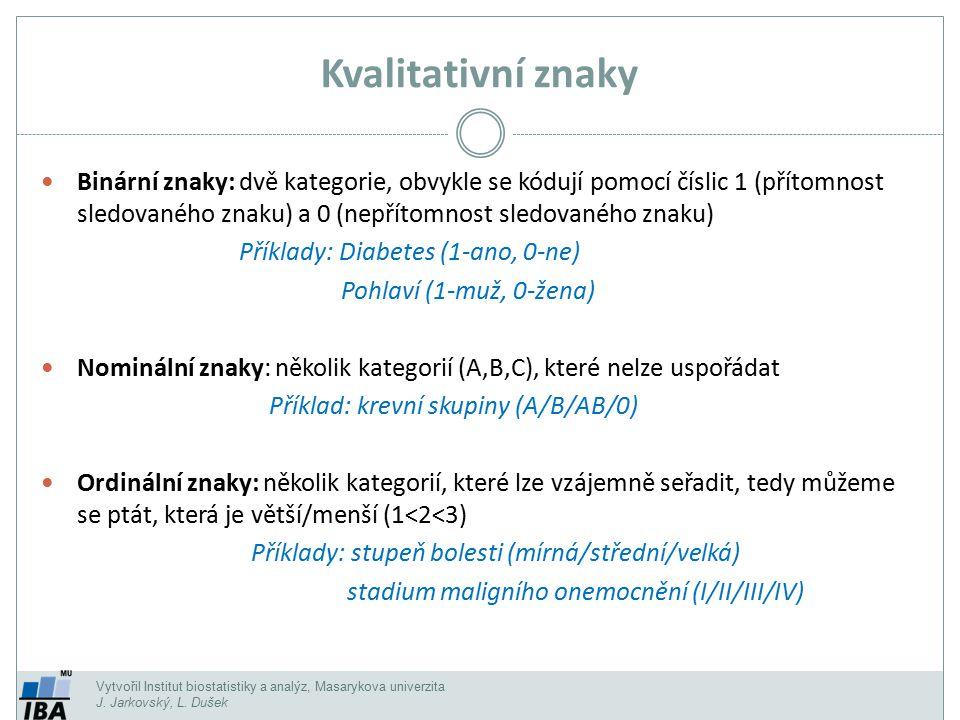 Vytvořil Institut biostatistiky a analýz, Masarykova univerzita J. Jarkovský, L. Dušek Kvalitativní znaky Binární znaky: dvě kategorie, obvykle se kód
