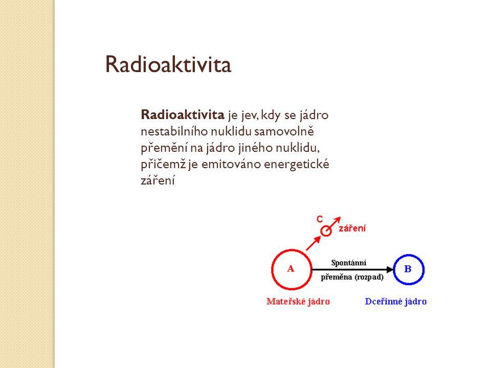 Radioaktivita je jev, kdy se jádro nestabilního nuklidu samovolně přemění na jádro jiného nuklidu, přičemž je emitováno energetické záření Radioaktivi