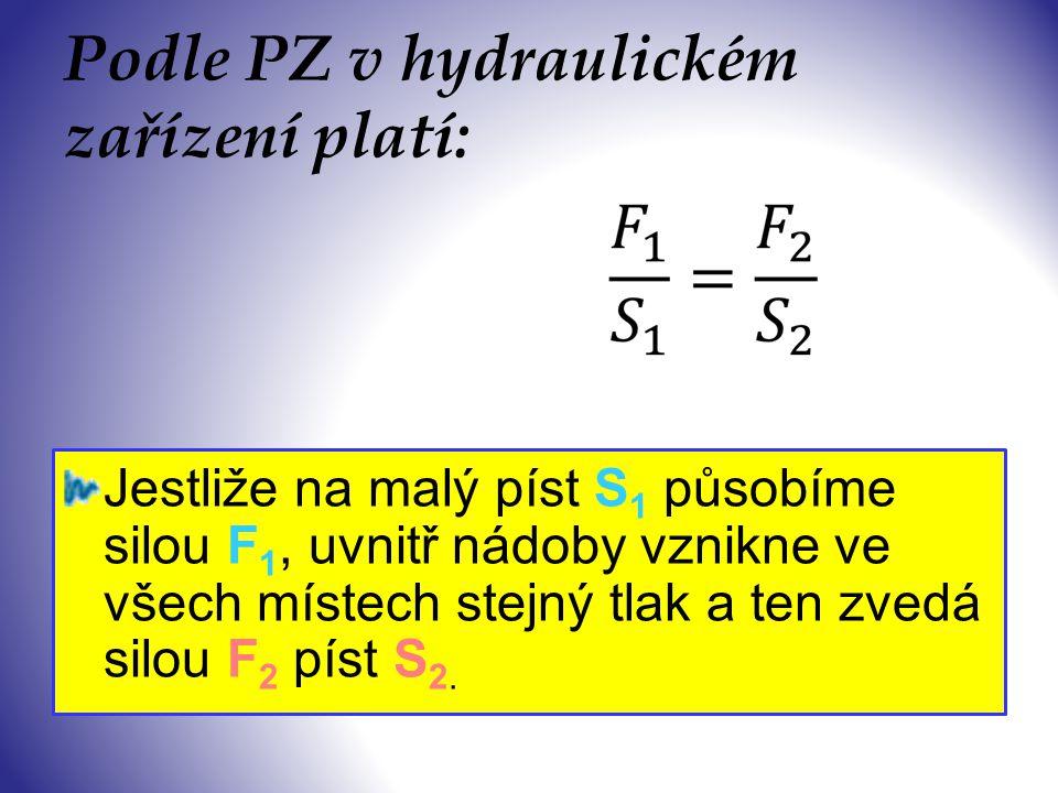 S1S1 S2S2 F1F1 F2F2 Princip hydraulického zařízení p1p1 p2p2 p3p3 p 1 = p 2 = p 3