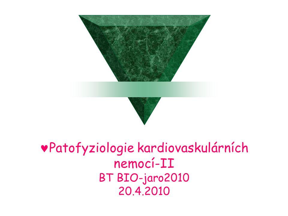 Patofyziologie kardiovaskulárních nemocí-II BT BIO-jaro2010 20.4.2010