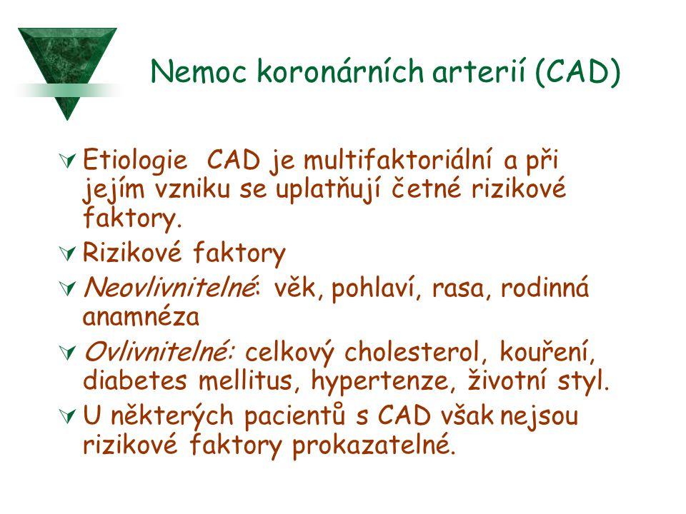 Nemoc koronárních arterií (CAD)  Etiologie CAD je multifaktoriální a při jejím vzniku se uplatňují četné rizikové faktory.  Rizikové faktory  Neovl