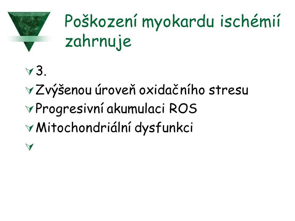 Poškození myokardu ischémií zahrnuje  3.  Zvýšenou úroveň oxidačního stresu  Progresivní akumulaci ROS  Mitochondriální dysfunkci 