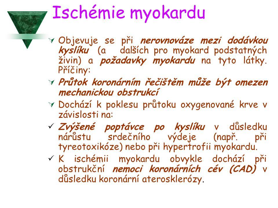 Ischémie myokardu  Objevuje se při nerovnováze mezi dodávkou kyslíku (a dalších pro myokard podstatných živin) a požadavky myokardu na tyto látky. Př