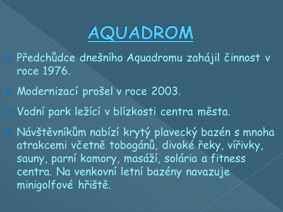  Předchůdce dnešního Aquadromu zahájil činnost v roce 1976.