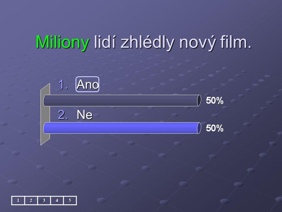 Miliony lidí zhlédly nový film. 1.Ano 2.Ne 12345