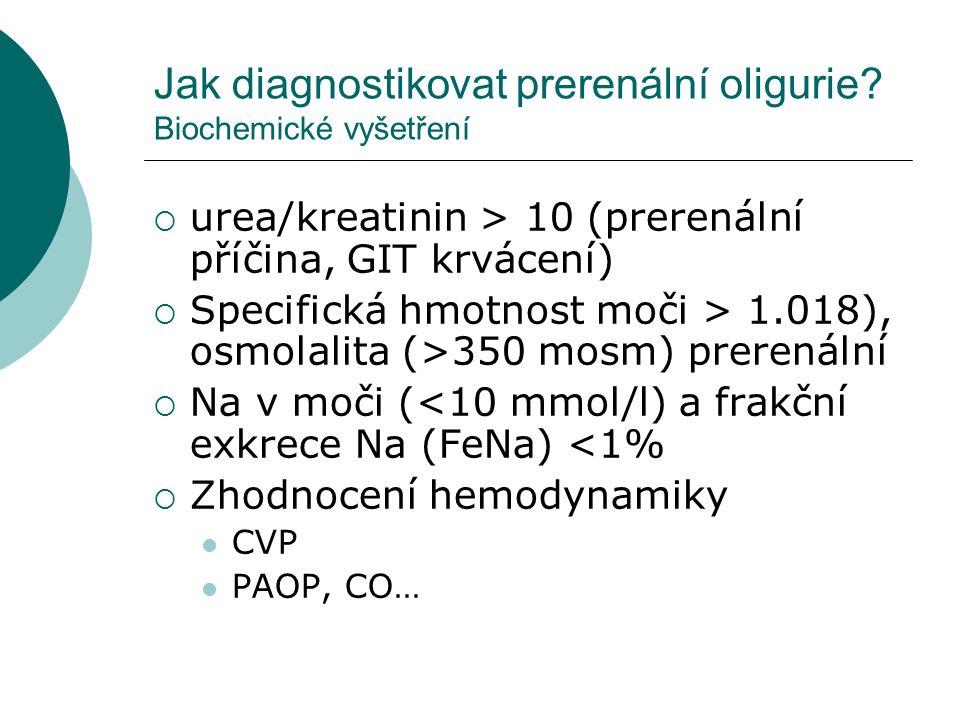 Jak diagnostikovat prerenální oligurie? Biochemické vyšetření  urea/kreatinin > 10 (prerenální příčina, GIT krvácení)  Specifická hmotnost moči > 1.