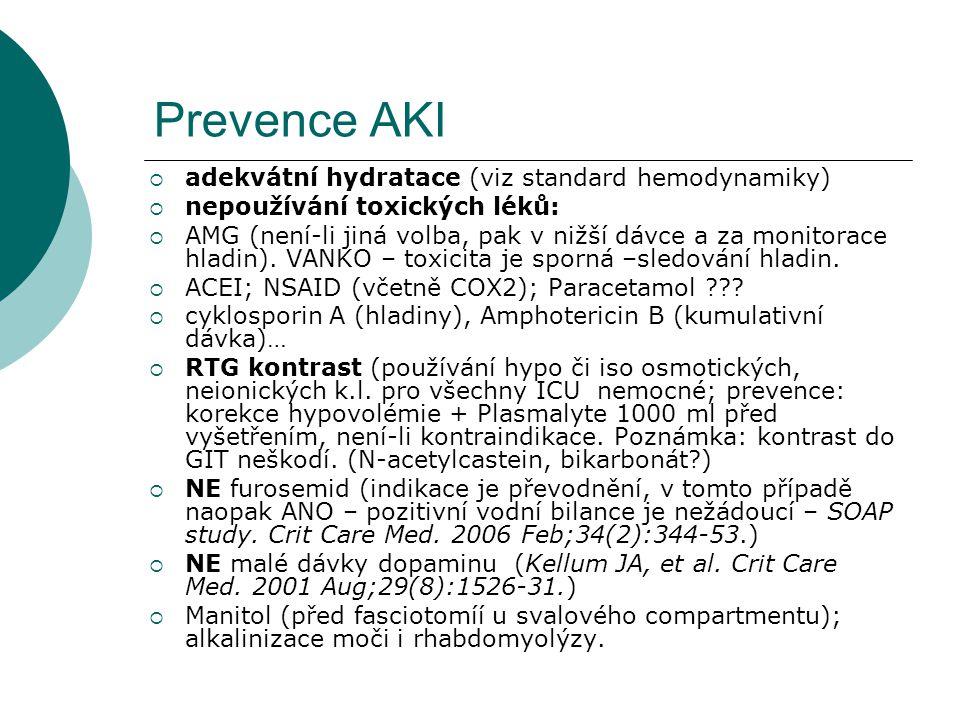 Prevence AKI  adekvátní hydratace (viz standard hemodynamiky)  nepoužívání toxických léků:  AMG (není-li jiná volba, pak v nižší dávce a za monitor