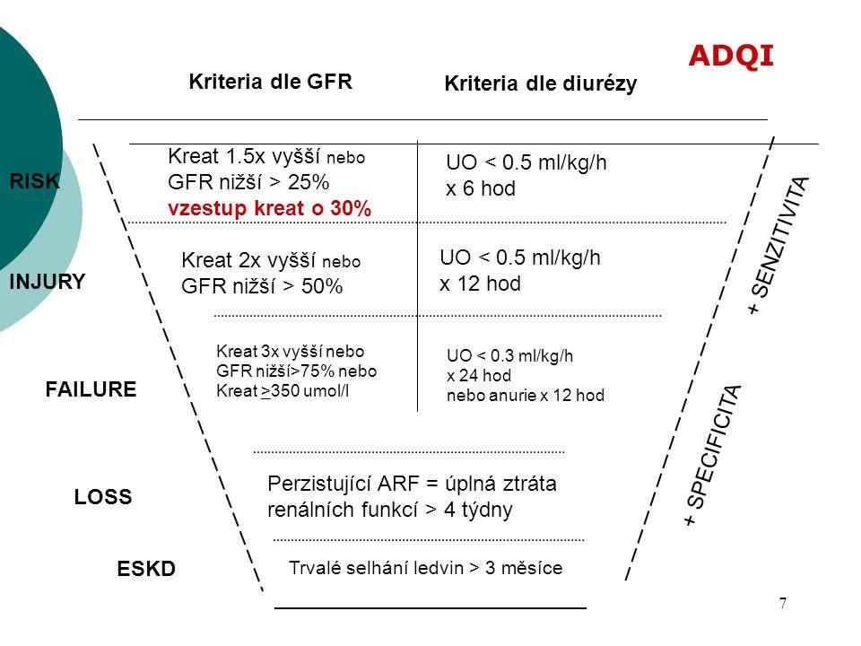 7 UO < 0.5 ml/kg/h x 6 hod Kreat 2x vyšší nebo GFR nižší > 50% Kreat 3x vyšší nebo GFR nižší>75% nebo Kreat >350 umol/l Kreat 1.5x vyšší nebo GFR nižš