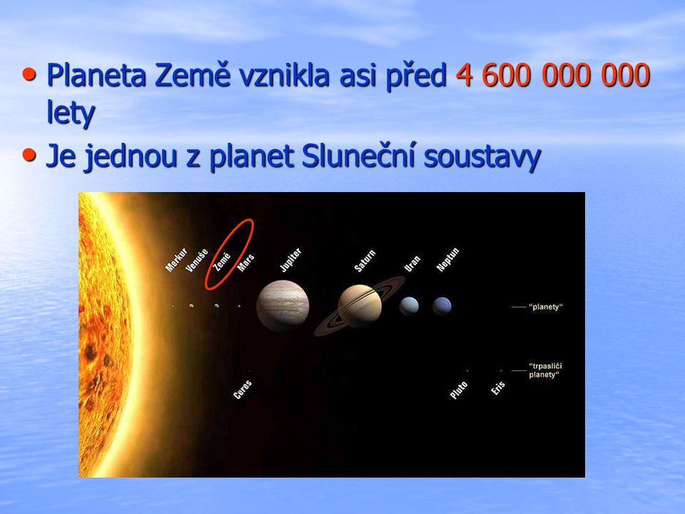 Planeta Země vznikla asi před 4 600 000 000 lety Planeta Země vznikla asi před 4 600 000 000 lety Je jednou z planet Sluneční soustavy Je jednou z planet Sluneční soustavy