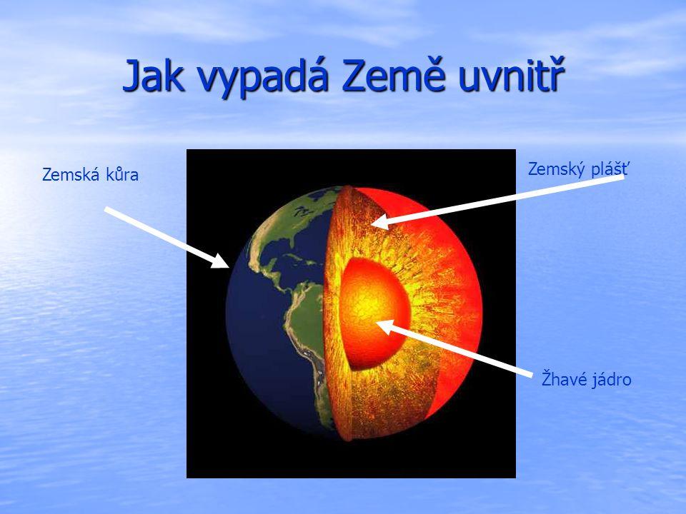 Jak vypadá Země uvnitř Zemská kůra Žhavé jádro Zemský plášť