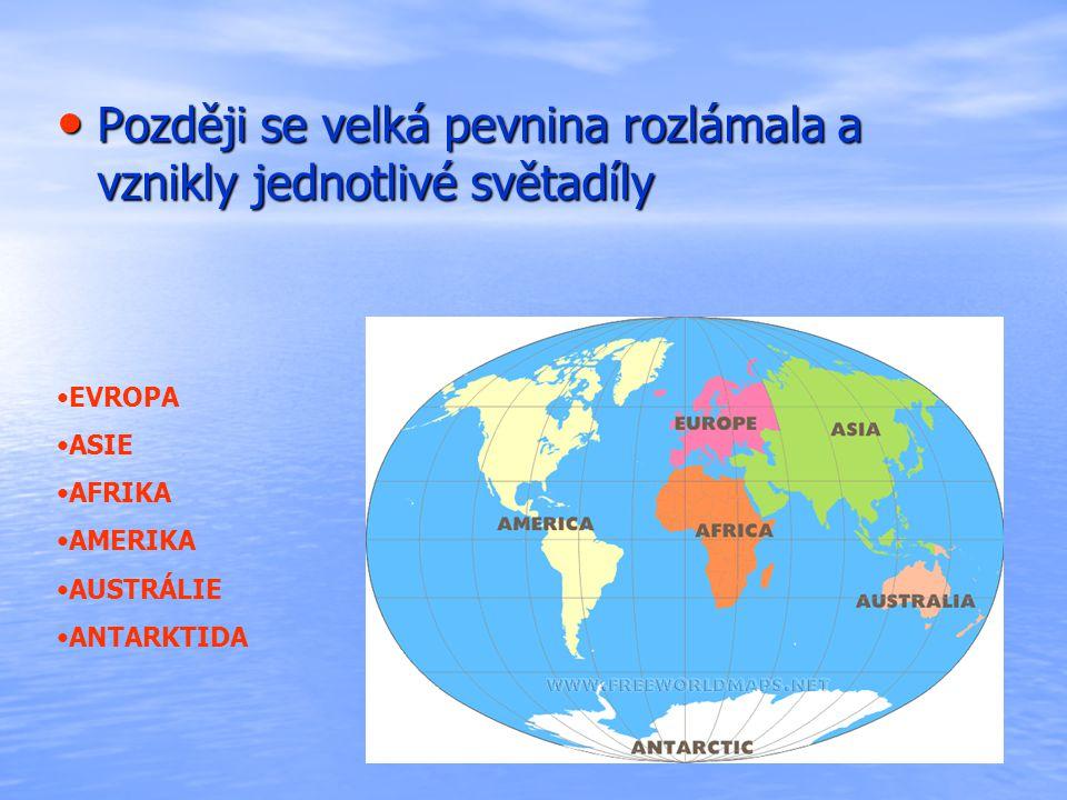 Později se velká pevnina rozlámala a vznikly jednotlivé světadíly Později se velká pevnina rozlámala a vznikly jednotlivé světadíly EVROPA ASIE AFRIKA AMERIKA AUSTRÁLIE ANTARKTIDA