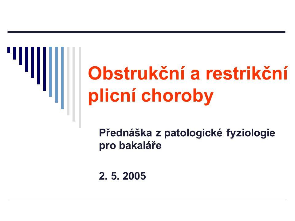 Přednáška z patologické fyziologie pro bakaláře 2. 5. 2005 Obstrukční a restrikční plicní choroby