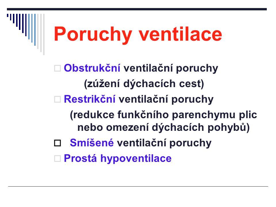 Poruchy ventilace  Obstrukční ventilační poruchy (zúžení dýchacích cest)  Restrikční ventilační poruchy (redukce funkčního parenchymu plic nebo omez