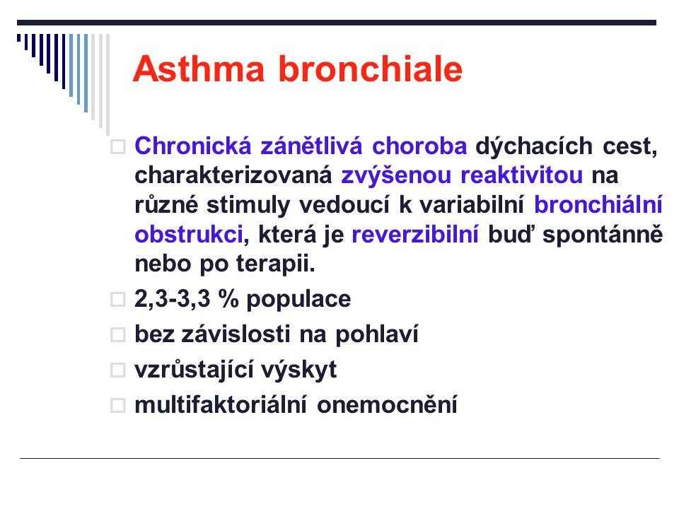 Asthma bronchiale  Chronická zánětlivá choroba dýchacích cest, charakterizovaná zvýšenou reaktivitou na různé stimuly vedoucí k variabilní bronchiáln