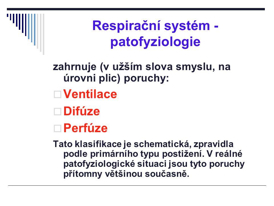 Respirační systém - patofyziologie zahrnuje (v užším slova smyslu, na úrovni plic) poruchy:  Ventilace  Difúze  Perfúze Tato klasifikace je schemat