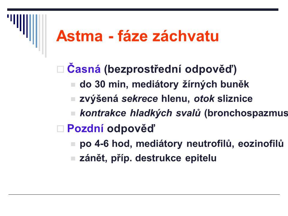 Astma - fáze záchvatu  Časná (bezprostřední odpověď) do 30 min, mediátory žírných buněk zvýšená sekrece hlenu, otok sliznice kontrakce hladkých svalů