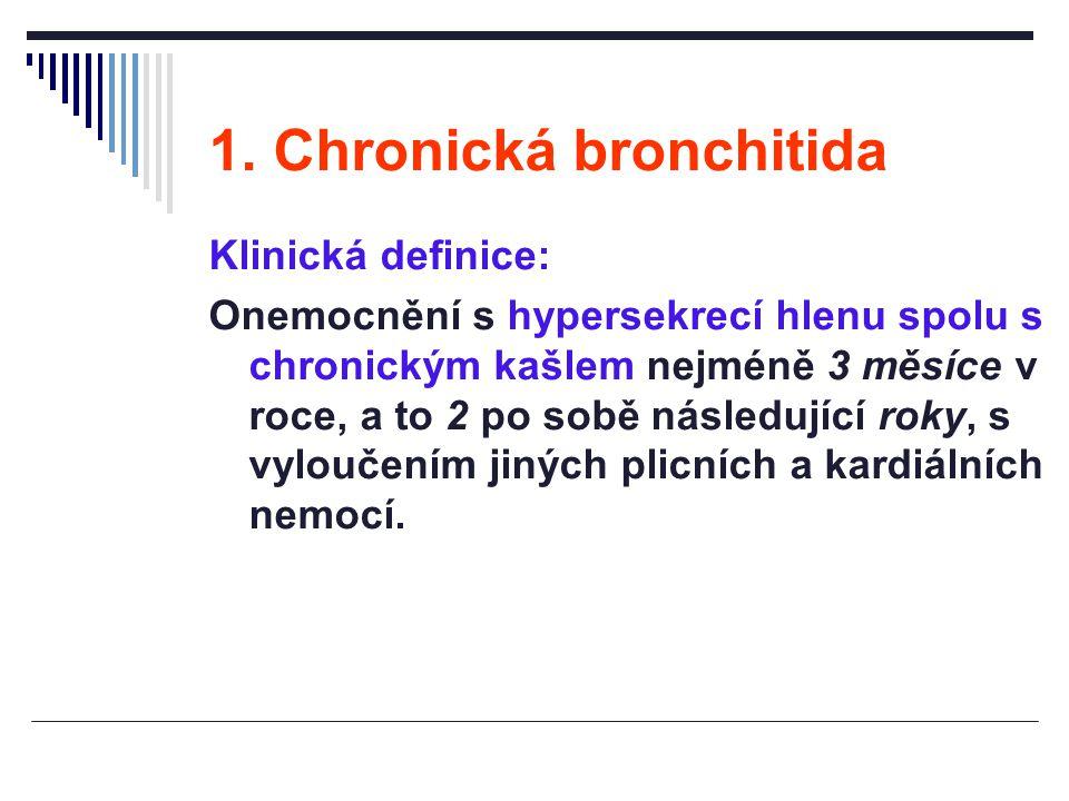 1. Chronická bronchitida Klinická definice: Onemocnění s hypersekrecí hlenu spolu s chronickým kašlem nejméně 3 měsíce v roce, a to 2 po sobě následuj