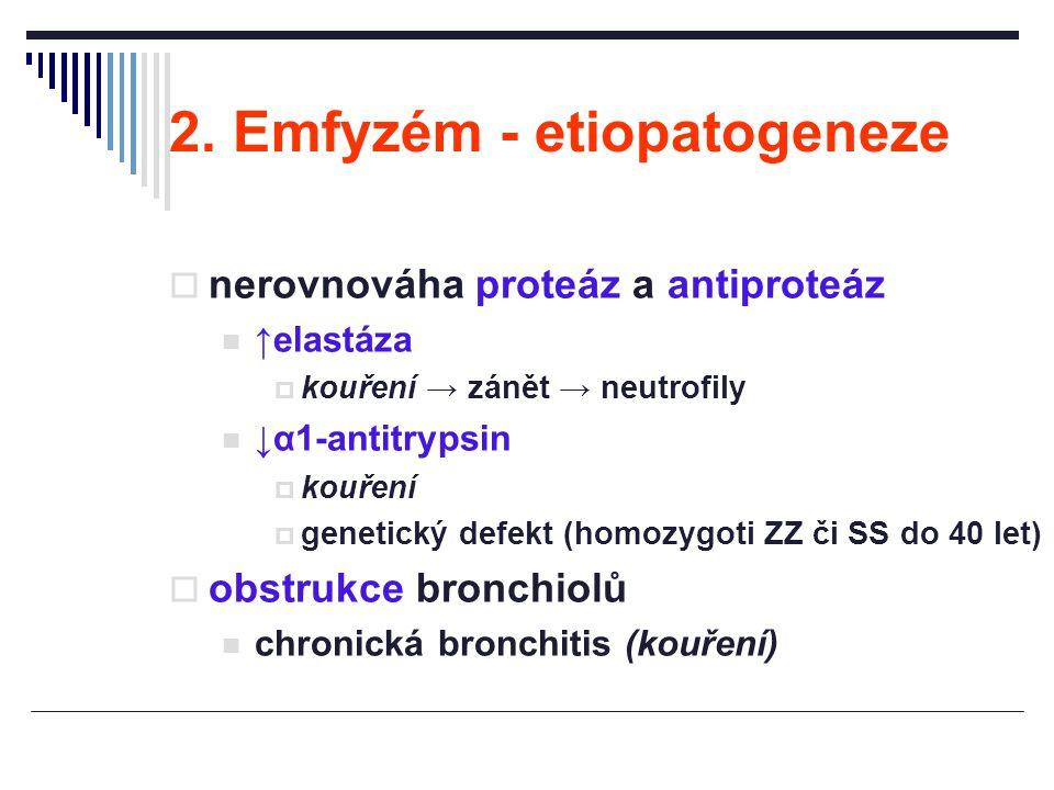 2. Emfyzém - etiopatogeneze  nerovnováha proteáz a antiproteáz ↑elastáza  kouření → zánět → neutrofily ↓α1-antitrypsin  kouření  genetický defekt