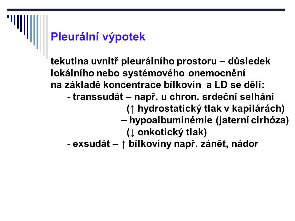 Pleurální výpotek tekutina uvnitř pleurálního prostoru – důsledek lokálního nebo systémového onemocnění na základě koncentrace bílkovin a LD se dělí: