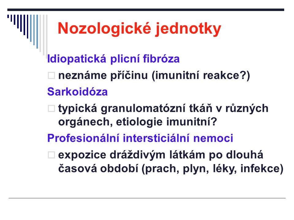 Nozologické jednotky Idiopatická plicní fibróza  neznáme příčinu (imunitní reakce?) Sarkoidóza  typická granulomatózní tkáň v různých orgánech, etio
