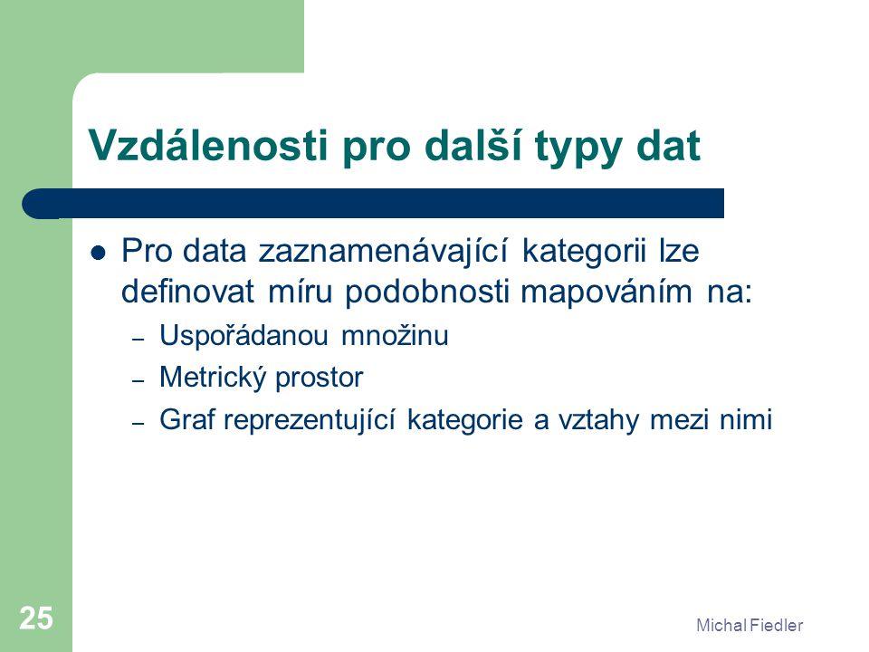Michal Fiedler 25 Vzdálenosti pro další typy dat Pro data zaznamenávající kategorii lze definovat míru podobnosti mapováním na: – Uspořádanou množinu