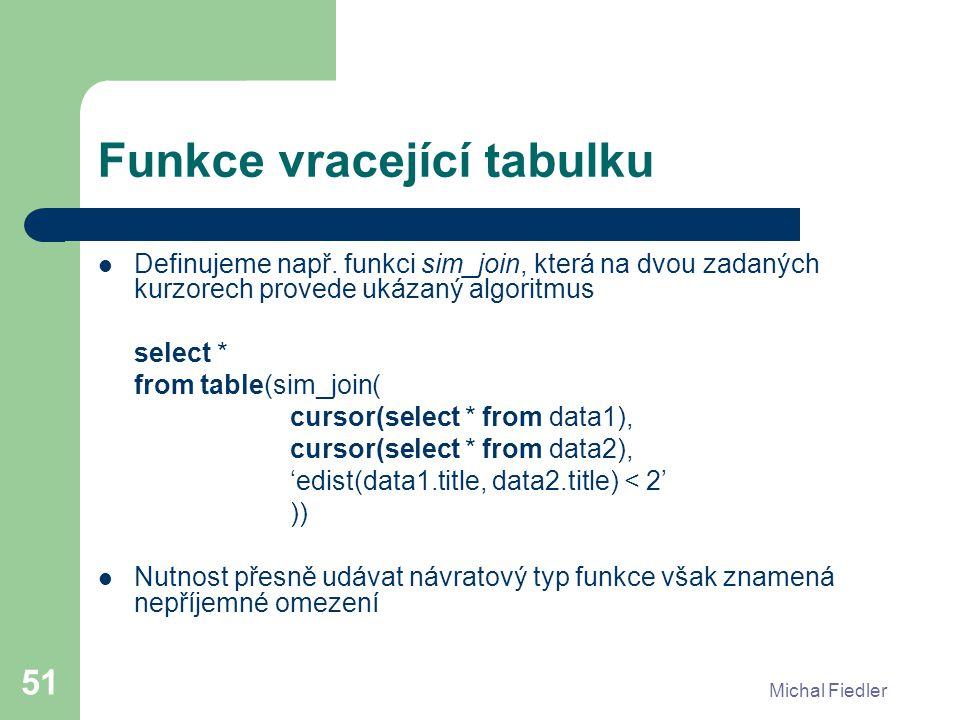 Michal Fiedler 51 Funkce vracející tabulku Definujeme např. funkci sim_join, která na dvou zadaných kurzorech provede ukázaný algoritmus select * from