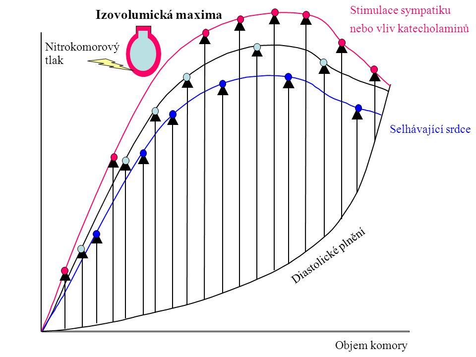 Nitrokomorový tlak Objem komory Diastolické plnění Izovolumická maxima Stimulace sympatiku nebo vliv katecholaminů Selhávající srdce