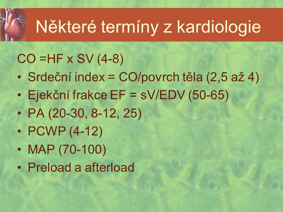 Některé termíny z kardiologie CO =HF x SV (4-8) Srdeční index = CO/povrch těla (2,5 až 4) Ejekční frakce EF = sV/EDV (50-65) PA (20-30, 8-12, 25) PCWP