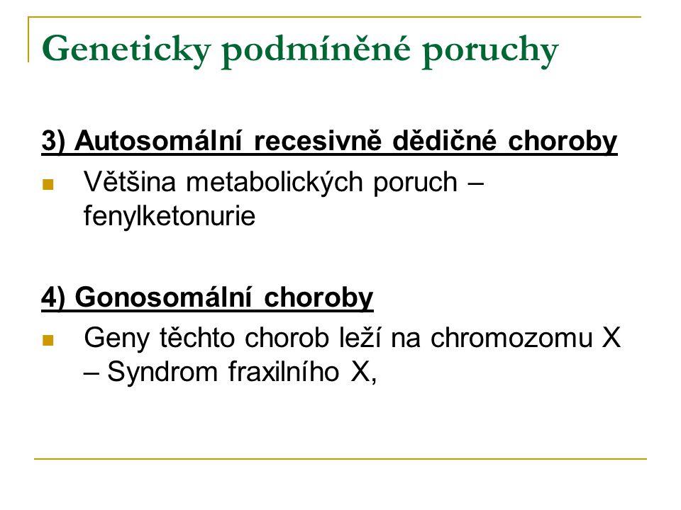 Geneticky podmíněné poruchy 3) Autosomální recesivně dědičné choroby Většina metabolických poruch – fenylketonurie 4) Gonosomální choroby Geny těchto chorob leží na chromozomu X – Syndrom fraxilního X,
