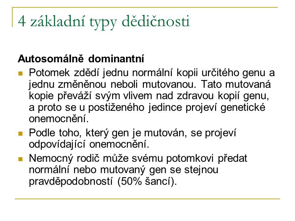 4 základní typy dědičnosti Autosomálně dominantní Potomek zdědí jednu normální kopii určitého genu a jednu změněnou neboli mutovanou. Tato mutovaná ko